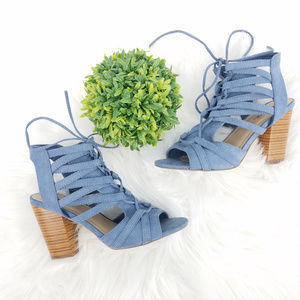JustFab Blue Strappy Lace-Up Block Heel Sandal